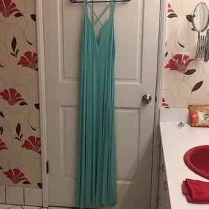 Sea-Green Floor-Length Dress